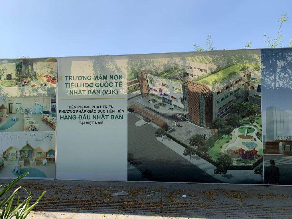 Trường mầm non đang được xây dựng tại khuông viên dự án