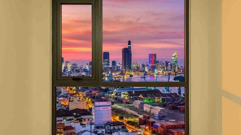View từ phòng ngủ tòa Hr1 về đêm
