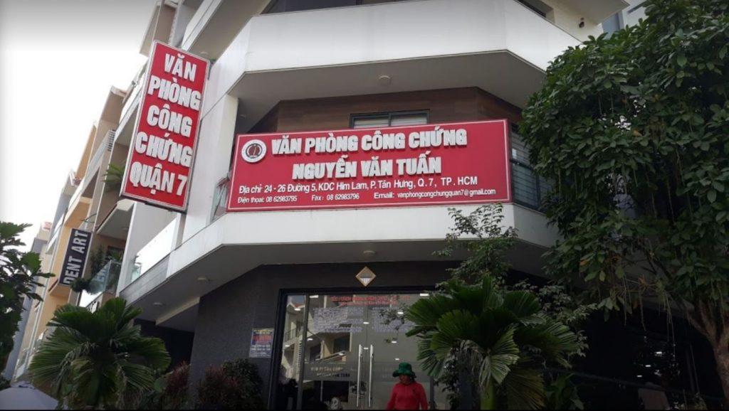 Văn phòng công chứng Nguyễn Văn Tuấn Quận 7